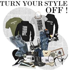 """Turn your radio off"" by artmart on Polyvore! Turn your style OFF here: http://offradio.spreadshirt.net"