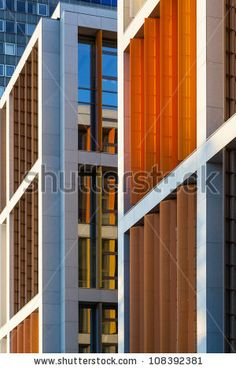 modern office building with reflections glasses