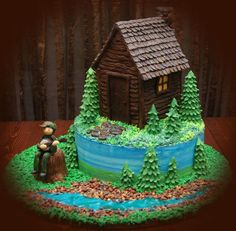 Cottage/cabin cake by tmalvey on CakeCentral