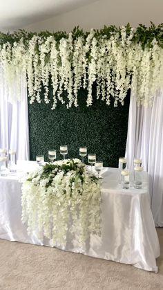 Desi Wedding Decor, Diy Wedding Backdrop, Wedding Stage Decorations, Backdrop Decorations, Wedding Centerpieces, Wedding Table, Cake Table Backdrop, White Wedding Decorations, Backdrop Ideas