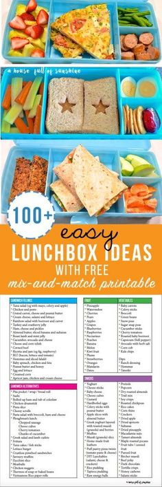 100+ Easy Lunchbox ideas with free mix and match printable