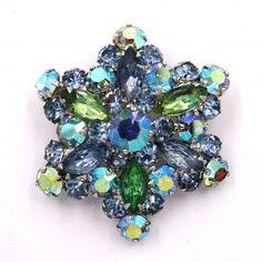 stunning vintage Weiss rivoli Blue brooch pin earring lot set