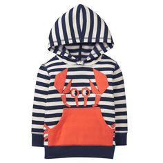 Toddler Boy Gym Navy Stripe Crab Hoodie by Gymboree