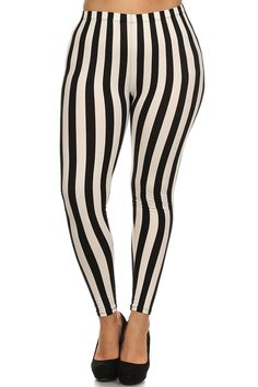 Black and White Thin Striped Leggings - Plus Size