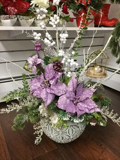 Christmas design by Andi at SilkFlorals 2016 Purple Christmas, Cool Christmas Trees, Christmas Flowers, Christmas Holidays, Christmas Crafts, Christmas Ornaments, Christmas Design, Christmas Flower Arrangements, Silk Flower Arrangements