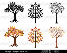 Tree Clipart, Autumn Tree Clipart Clip Art, Tree Silhouette Clipart Clip Art, Trees Family Tree - Commercial & Personal - BUY 2, GET 1 FREE!
