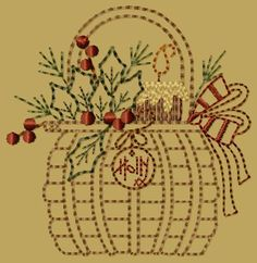 PK068 Holly Basket Version 2 - 4x4 - $4.00 : Primitive Keepers, Prim Machine Embroidery Designs