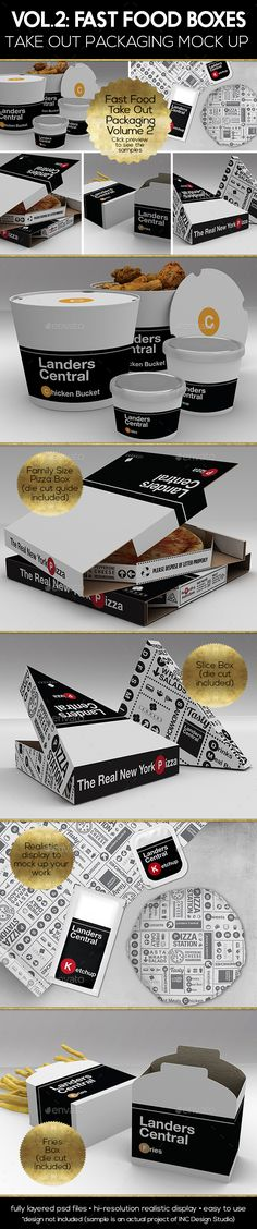 Fast Food Boxes Vol.2:Take Out Packaging Mock Ups - Food and Drink Packaging