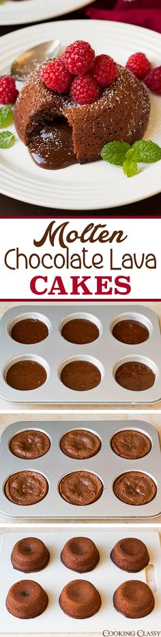 Molten Chocolate Lava Cakes - no mixer required and so easy to make! Deliciously…