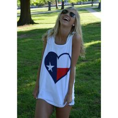 Texas Pride Tank White from Lauren James on Storenvy Summer Outfits, Cute Outfits, Summer Wear, School Outfits, Le Closet, Texas Pride, Down South, Vogue, Ray Ban Aviator