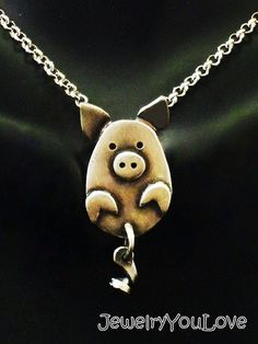 Sterling Silver Pig or Pug Necklace With Moving by JYLbyPeekaliu