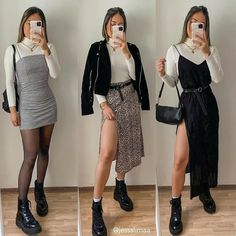 Kpop Outfits, Edgy Outfits, Casual Winter Outfits, Winter Fashion Outfits, Spring Outfits, Cute Outfits, Fashion Dresses, Moda Plus Size, Looks Style