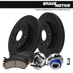 2X Rear Discs Brake Rotors and 4X Pads For 2000-2005 Buick LeSabre Drill Slot