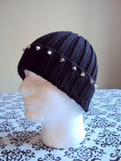 MENS GRUNGE HAT Black Beanie Spiked in Silvery Metals Studded Beanie Women Men Winter Accessories Holiday Fashion Gift Ideas Under 30 by GrahamsBazaar, $24.99