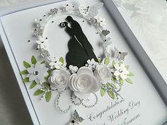 19 Super Ideas for wedding card handmade drawing Homemade Wedding Cards, Wedding Day Cards, Wedding Cards Handmade, Wedding Anniversary Cards, Personalised Wedding Cards, Second Anniversary, Anniversary Ideas, Paper Quilling Patterns, Quilling Cards