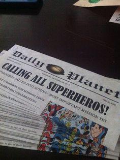 Superhero party invite; Newspaper