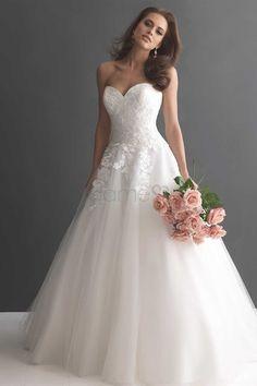 Tüll Herz-Ausschnitt Satin Lace A-Linie aufgeblähtes bodenlanges Brautkleider