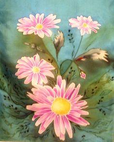 Hand painted silk. Seda pintada a mano