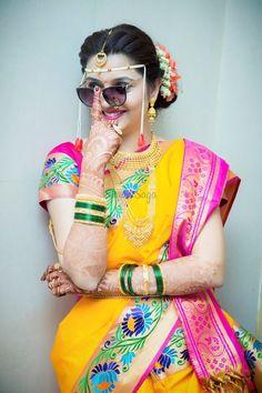 7 Adornments that Make us Fall Hard in Love with Marathi Brides marathi bride/ bride/ bridal/ makeup/ bridalmakeup/ weddinginspo/ saree/ maangteeka/ maang tikka/ Indian Wedding Poses, Indian Bridal Photos, Indian Wedding Couple Photography, Indian Bridal Outfits, Mehendi Photography, Bridal Poses, Bridal Photoshoot, Marathi Bride, Marathi Nath