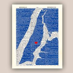 Manhattan Map Art Print Upper East Side Heart by PrintLand on Etsy, $25.00