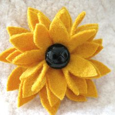 Black-Eyed Susan Flower Brooch Recycled Sweater by FeltSewGood