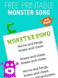 FREE printable monster song for preschool or camp. Preschool Music, Fall Preschool, Preschool Themes, Preschool Printables, Free Printables, Preschool Halloween, Halloween Kids, Monster Theme Classroom, Music Classroom
