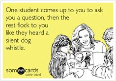So true lol! Or one student asks to go to the bathroom and then they all have to go.