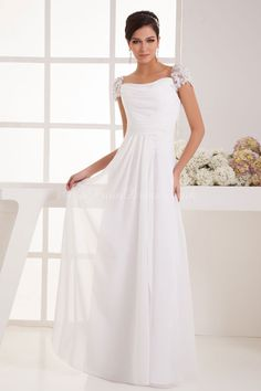 Sheath/Column Chiffon Square Natural Waist Floor-Length Zipper Cap sleeve Lace Ruching Wedding Dress - gopromdres.com