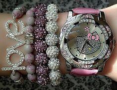 Pink Hello Kitty watch set