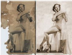 Restoration includes creating a right leg and shoe, eliminating damage and adjusting color and density. Old Photo Restoration, Old Photos, Statue, Painting, Color, Art, Old Pictures, Art Background, Vintage Photos