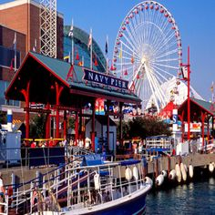Navy Pier is a pier on the Chicago shoreline of Lake Michigan. Navy Pier is among the best Chicago tourist attractions. The Navy Pier currently Navy Pier Chicago, Chicago Usa, Chicago Travel, Chicago Illinois, Visit Chicago, Chicago Style, Visit Dallas, Chicago Vacation, Chicago Trip