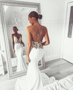 Looking for in , Mermaid style, and Gorgeous Lace work? Babyonlinewholesale has all covered on this elegant Sexy V-Neck Lace Spaghetti Strap Mermaid Wedding Dress Open Back Bridal Gown. Spaghetti Strap Wedding Dress, Wedding Dresses With Straps, Perfect Wedding Dress, Spaghetti Straps, Mermaid Evening Dresses, Lace Mermaid Wedding Dress, Prom Dresses, Bridesmaid Dresses, Graduation Dresses