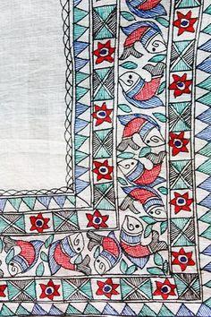Madhubani Art, Madhubani Painting, Embroidery Motifs, Hand Embroidery Designs, Fabric Painting, Fabric Art, Saree Painting Designs, Hand Painted Sarees, Kalamkari Painting