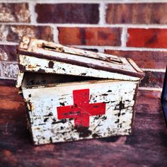 Vintage Industrial First Aid Red Cross Metal by VintageUrbanBlue, $55.00