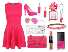 """""""PINK"""" by bowiet ❤ liked on Polyvore featuring Pilot, Miss KG, Chanel, Ray-Ban, Full Tilt, ABS by Allen Schwartz, Alexis Bittar, NARS Cosmetics, Bobbi Brown Cosmetics and Marc Jacobs"""