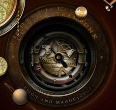 The steampunk underwidget on the desktop - in dark mode