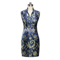 #qipao  #cheongsam Navy Blue Satin Straight Lapel V Collar Phoenix Tails Mini Chinese Dress Qipao