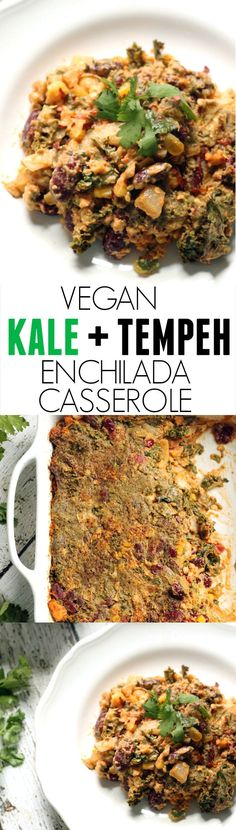 Kale and Tempeh Enchilada- Quick, easy and hearty, this delicious, healthy casserole is the perfect meal to have on hand! Freezer friendly and kid friendly! Vegan + Gluten Free - hummusapien.com