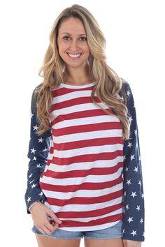 Women's American Flag Raglan Shirt | Tipsy Elves