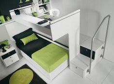 No se necesita de mucho espacio para tener una recamara moderna y cómoda.