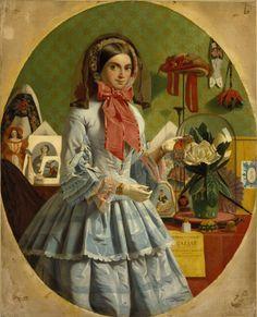 The Empty Purse, James Collinson, ca. 1857; TC N03201 Lots of great bazaar details: braces, berlinwork shoes, miser's purse, and more.