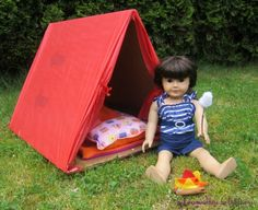 how to make a doll tent, sleeping bag and campfire