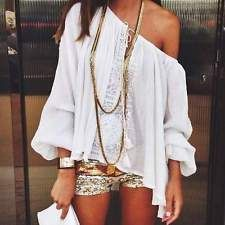 Sexy Women Boho Lace Crochet Tops Off Shoulder Long Sleeve Casual T-shirt Blouse