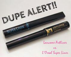 DUPE ALERT!! Lancome Artliner vs. L'Oreal Super Liner #twinning