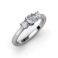Show your Love with this Gorgeous 0.53 ct tw Three Stone Ring featuring a Center Diamond flanked by Diamond on either sides beautifully crafted in 14K White Gold representing your past, present