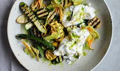Cooking over wood or coals imparts the same enticing smokiness to veg and cheese as it does to meat. Here a marinade of harissa and lime turns grilled halloumi up a notch, while homemade lovage oil conjures a verdant summer from charred courgettes and mozzarella