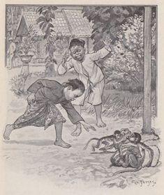 Pagina met informatie over de indische boekjes met illustraties van Cornelis Jetses. Antique Art, Vintage Art, Bali Painting, Indonesian Art, Dutch East Indies, Fantasy Drawings, Historical Pictures, Home Art, Egyptians