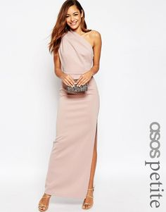 Image 1 of ASOS PETITE One Shoulder Maxi Dress With Exposed Zip