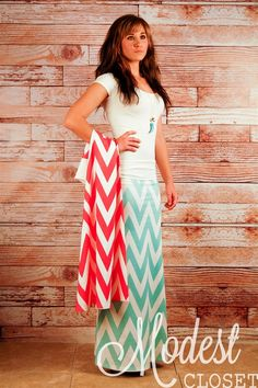 Cute Inexpensive Modest Clothing Chevron Maxis Skirts Cute