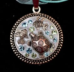 IN the OCEAN pendant  OOAK unusual quirky sparkly by SilverArti
